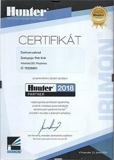 Profesionální certifikovaná firma pro zavlažování Hunter