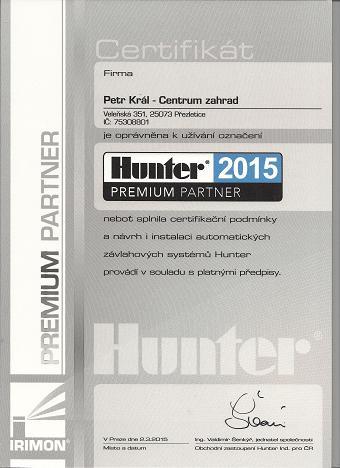 Certifikace Hunter zavlažovací systémy